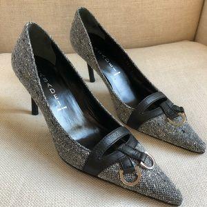 Casadei Pumps Tweed Gray Black Heel Resin NEW